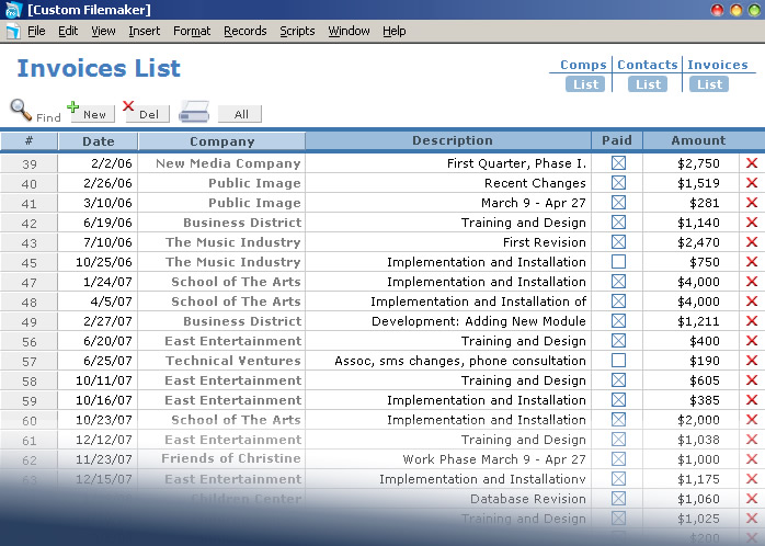 custom-filemaker invoices list view